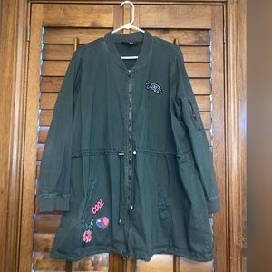 Plus Size Military Coat with Patches